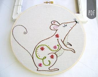 PDF Embroidery Pattern, Autumn, Fall, Mouse, Rat, Hand Stitching,