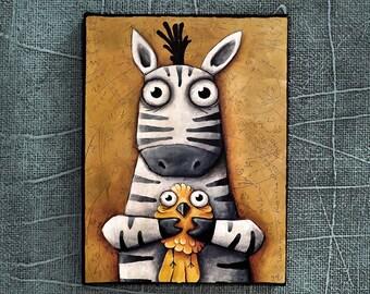 zebra and bird, print on canvas, Ivan Glock 18x24,