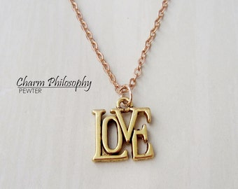 Gold Love Necklace - Small Word Love Charm - Antique Gold Toned Jewelry