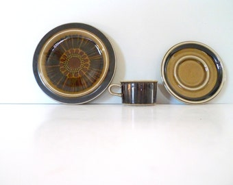Arabia Finland cup, saucer and plate- Kosmos Green Ulla Procope
