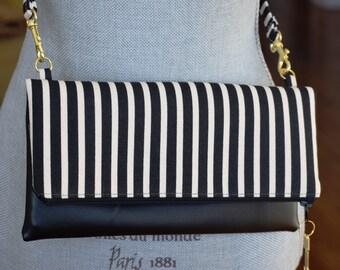 Black Striped Fold Over Vegan Clutch, Vegan Clutch, Bridesmaid Clutch, FoldOver Clutch, Bridesmaids Gift, Vegan Clutch, Damask Clutch