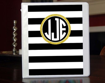 Black and Gold Personalized Monogram Notebook Insert for 3 Ring Binder or Printable