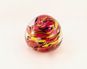 Hand blown Glass Paperweight / Colourful Glass paperweight with colourful swirl