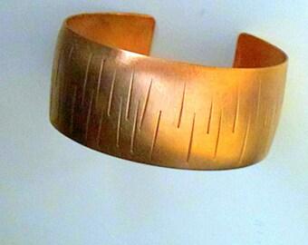 Woman's Wide Copper Cuff Bracelet