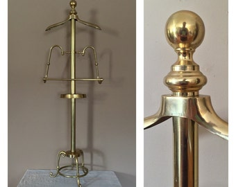 Mid Century Brass Valet / Valet Stand / Suit Stand / Mens Valet / Men's Valet / Wood Valet / Vintage Valet Stand / Brass Valet Stand