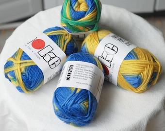 Wool and Soy Silk Yarn, Karaoke, Blue Yellow Green, Worsted, 100 meters, 50 grams, Sale