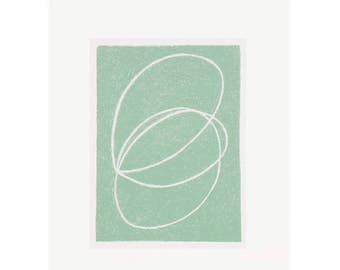 modern abstract screenprint, original and handmade in green and cream, small and simple hand drawn print by Emma Lawrenson