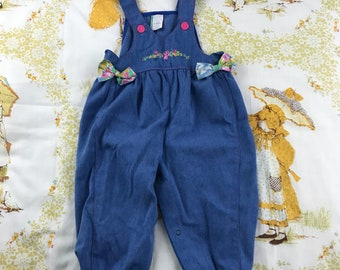 Vintage Nineties Denim Overalls with Floral Bows and Embroidery