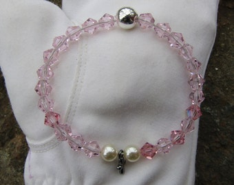 Girl's Communion Bracelet: Genuine Swarovski Crystal Beads and Pearls with Cross Charm