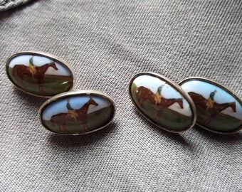 Silver and Enamel Racehorse Cuff Links