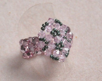 Snowflake ring pink & grey