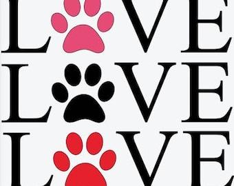 Love My Dog - Vinyl Decal - Pawprint - Car Sticker