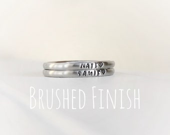 Stacking ring Hand stamped Brushed Finish ring Personalized custom name ring Tiny 2mm stacking ring Stainless Steel mothers ring