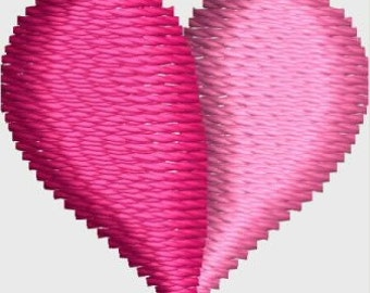 Mini 2D heart embroidery designs 3 sizes