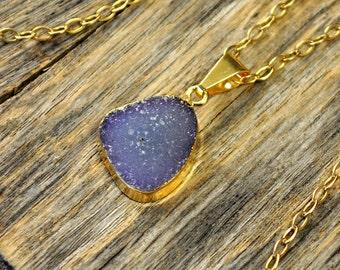 Small Druzy Necklace, Druzy Pendant, Gold Druzy Necklace, Gold Druzy Pendant, Purple Druzy Necklace, Light Purple Druzy, 14k Gold Fill Chain