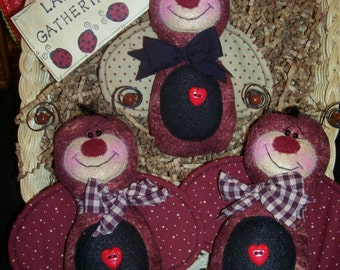 Primitive Whimsical Country GARDEN LADYBUGS Dolls Tucks Bowl Fillers Ornies