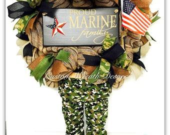 Military Wreath, Soldier Wreath, Marine Soldier Wreath, Patriotic Soldier Wreath, Military Deco Mesh Wreath