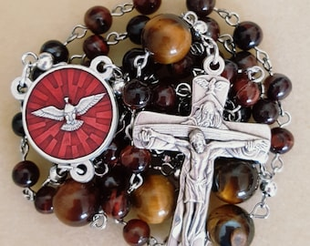 Red Tiger Eye Gifts of the Holy Spirit Rosary