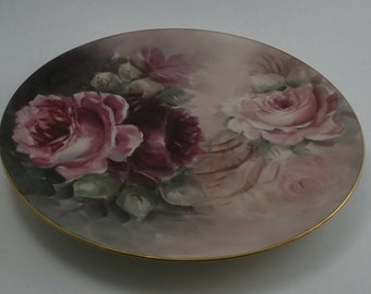 Vintage Hand Painted Plate, Decorative Plate, Lavender and Purple China with Lavender Roses, Gold Edge