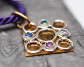 Bubbles squared - sterling & bronze geometric gemstone pendant on purple cord