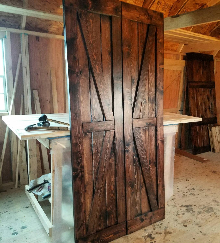 Interior Double British Brace Barn Door Package   Double Doors   Sliding  Wooden Door   Farmhouse Style Barn Door   Barn Door Package