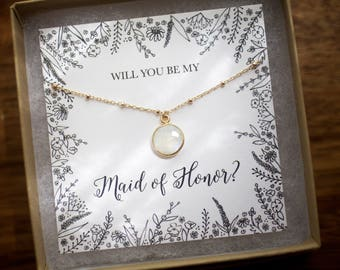 Will You Be My Bridesmaid? Necklace, Bridal Party Gift, Maid of Honor Gift, Mother's Day Gift, Wedding Gift, Bride to Be, Moonstone Necklace