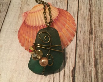 Beaded Wire Wrapped Sea Glass Necklace
