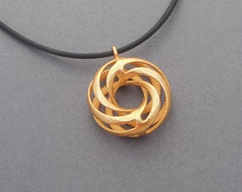 Twisted Torus - 3D Printed Pendant in Gold Plated Steel | 3D Printed Jewelry