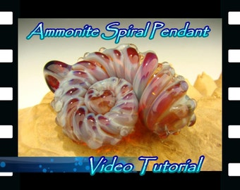 Video Tutorial: Learn how to make an Ammonite Shell Pendant with flameworked ( lampworked ) Borosilicate glass by Kenny Talamas