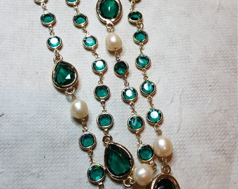 Kenneth Lane Emerald Crystal and Faux Pearl Necklace