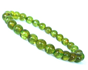 Genuine 7mm Peridot Bracelet, Natural Green Peridot Jewelry, Natural Stone Jewelry, Green Stone, August Birthstone Jewelry, Peridot Jewelry