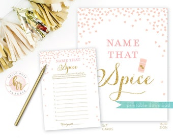 Name That Spice Bridal Shower Game Cards and Sign 8x10 . Pink and Gold Bridal Shower Games . Guess Spice Printable Instant Digital Download