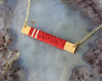Gold and Silk Bar Necklace - Red