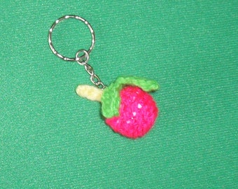 Keyring Charm Handmade Crochet Apple Fruit Unique