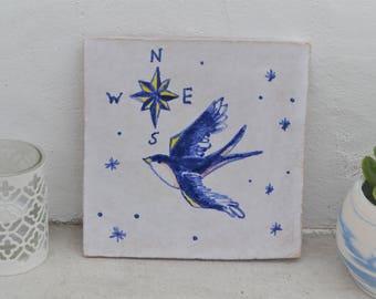 "Handmade stoneware tile swallow ""andorinha"""