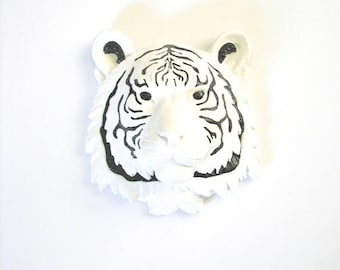 CUSTOMIZE ANY 2 Colors Small Faux Taxidermy Tiger Head wall mount wall hanging pictured in white with black stripes / details