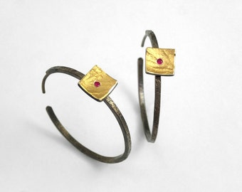Medium hoop earrings made of  gold and oxidized silver with a square addon and a genuine ruby, Handcrafted earrings, Gift for her.