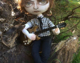 Handmade boy doll, cloth doll, art doll,  ooak doll, one of a kind doll, rag doll, textile art, musician doll, soft sculpture