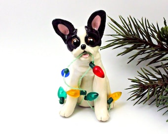 French Bulldog White Black PORCELAIN Clay Christmas Ornament Lights