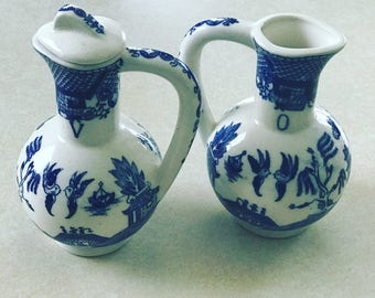 Vintage Blue Willow vinegar and oil cruets