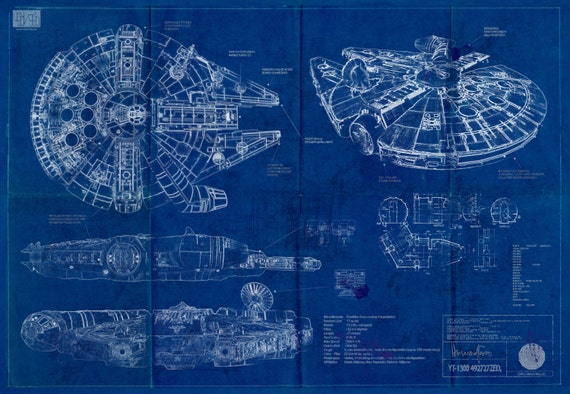 Millennium Falcon Star Wars Poster Blueprint A2 420mm594