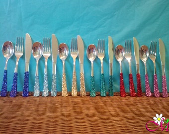 Plastic Silverware, Fork/Knife/Spoon Set (Silver) Decorated with Glitter Handles, (Your Choice of Color), Plasticware, Party Utensils