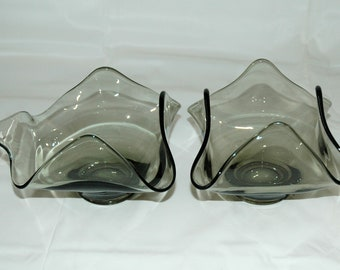 Set of 2 Viking Glass Epic Line Charcoal Grey Crimped Folded Bent Art Glass Handkerchief Midcentury Modern Candy Dish