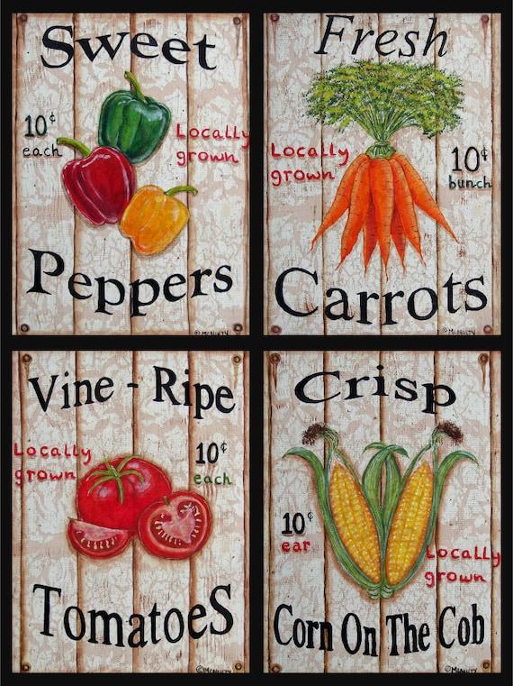 Set von 4 beunruhigten Blick Gemüse Zeichen Prints