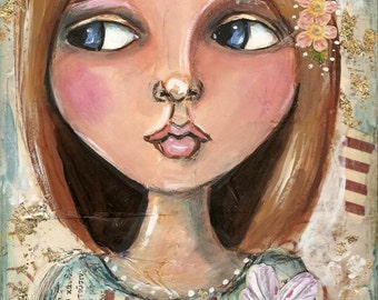 Blonde Girl, portrait, Original Mixed medial painting, Big eyed art