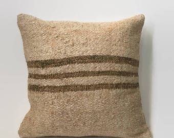 Striped Kilim, Tan Kilim Pillow, Beige Kilim Pillow, Turkish Pillow, Moroccan Pillow, Decorative Pillow