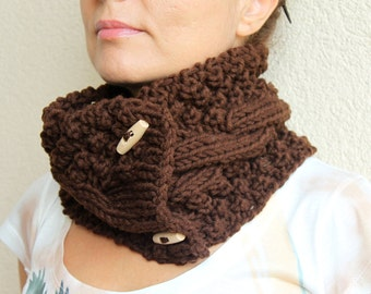 Clothing Gift. Bitter Chocolate Brown Chunky Knit Cable Cowl Neck Scarf With Buttons