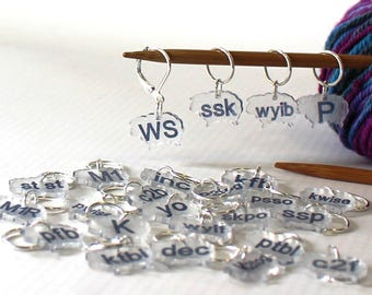 47 Pattern Reminder Stitch Markers Knitters Helper Knitting Reminder Stitchmarker Knitting Instruction Abbreviation Knitting Helper Gift