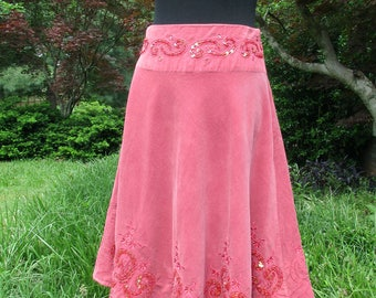 BOHO CORDUROY SKIRT! embroidered skirt, sequins beading, soft pink corduroy midi, Vintage 90s Boho, festival Indie Chic, Hippie skirt, cute!