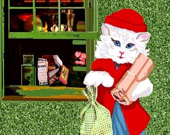 Shopping in Santa Fe/ a Victorian Kitten / Buy as an ATC Card or a Giclee Print